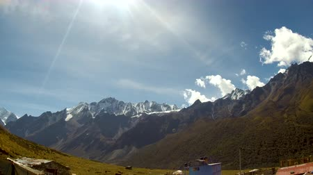 Very beautiful panning landscape of himalayas in langtang valley. View from Kyanjin Gompa village