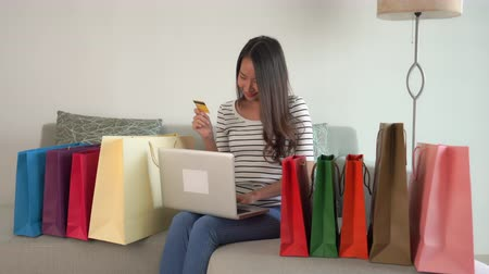 balanceamento : Women shopping online on sofa and chair Stock Footage