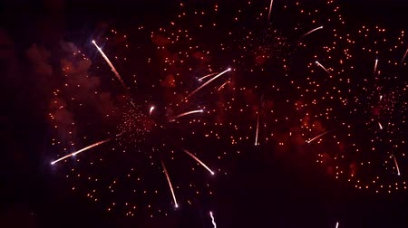 patriótico : Beautiful abstract colourful Fireworks explode display on sky at night a symbol of celebration in New years anniversary for background