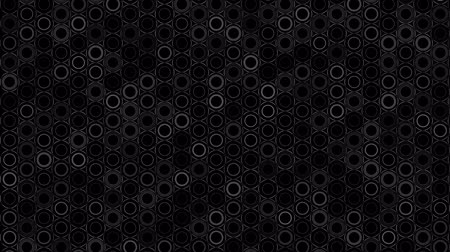 hexagon pattern : Dark Black and White Circles pattern. Modern render smooth animation Abstract background with animation of wave mosaic of Circles. Technological, Technology background Stock Footage