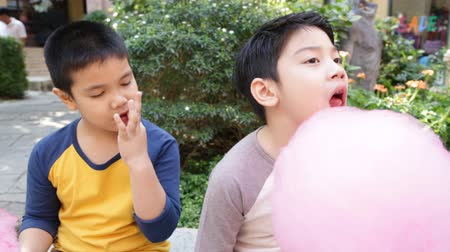 bavlna : Young asian boys sitting near attractions. they eat sweets and look very cheerful and happy Dostupné videozáznamy