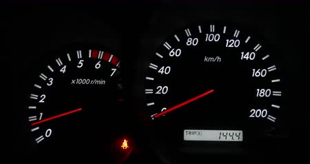 kilometer : Close up of car dashboard and Odometer,Revving Speedometer and Tachometer Stock Footage