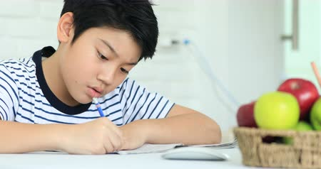 aluno : Cute asian boy doing homework at home with smile face. Stock Footage