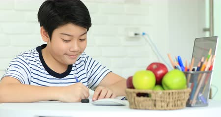 pré escolar : Cute asian boy doing homework at home with smile face. Stock Footage