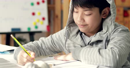 examination room : Angry asian boy doing your homework with feel anxious about, worry  and be tired. Stock Footage