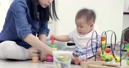 babysitter : Cute little baby with mom. Mother and son playing education toy. boy and woman playing together.