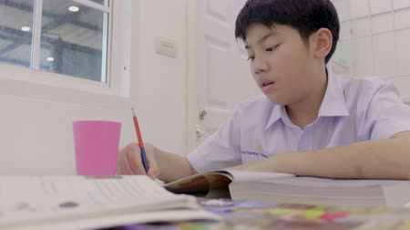 Asian child in student uniform reading and writing to do homework of the home . 4K Slow motion of asian boy doing homework at home Stok Video