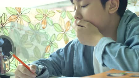 Slow motion of Happy asian boy doing your homework with smile face. 4K Stok Video