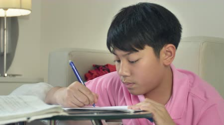 домашнее задание : Asian cute boy doing homework with laptop computer at home