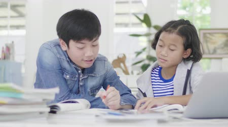 tablet bilgisayar : Young boys are using computers to teach and explain homework. To friends with facial expressions and happy gestures, Dolly shot 60fps. Stok Video