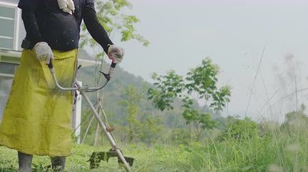 tondeuse a gazon : Close up of man using a lawn mower at the front yard. The gardener cutting grass by lawn mower. 60FPS Vidéos Libres De Droits