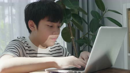 self examination : Asian teen boy doing your homework with laptop computer at home.