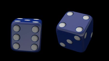 dungeons and dragons : blue dice rolling on black background HD Stock Footage