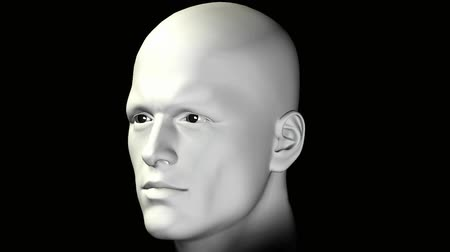 caráter : Man portrait on black background. Rotating head human figure animation digitally created 3d illustration. Vídeos
