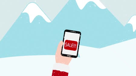 yüzde : Winter sale animation, Hand with red sleeves holding smartphone with SALE text and Colorful shopping bags pops from the red button, Blue mountains with snow background