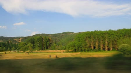 utazó : Landscape of meadows and woods in summer with grass mowed and baled collection. Traveling from car side