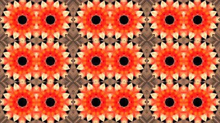 çarpıntı : Mosaic Fractal Kaleidoscopic - Fractal geometric mosaic with palpitation of colored lights flashing red and orange background Stok Video