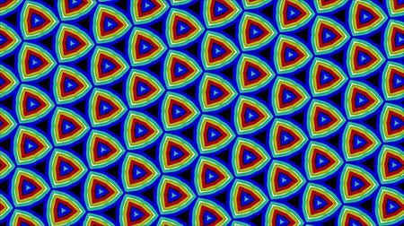 rastr : Triangular Fractal Geometric Shapes in Motion - Dynamic digital kaleidoscope triangular With colored tiles and floral shapes