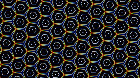 geometric : ynamic digital kaleidoscope of geometric mosaics With polygonal shapes and colors Stock Footage