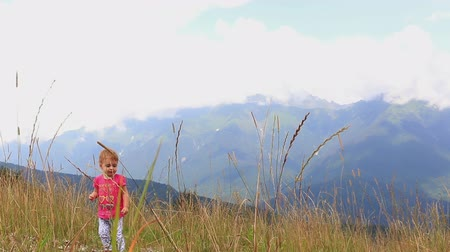 small park : small child walking through the tall grass in the mountains on a hot summer day. Full HD. 1920x1080