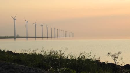 környezeti : Row of wind turbines with rotating blades. Duck swimming in the foreground.