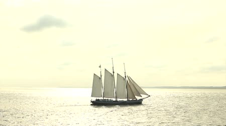 древний : Large sailing ship on the Wadden Sea in The Netherlands in a sunset. Island of Vlieland in the background.