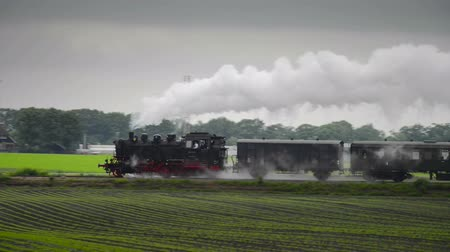 Old steam locomotive pulling railway carts in the countryside.