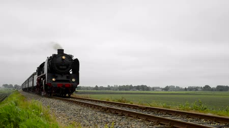 vasúti : Old steam locomotive pulling railroad cars in the countryside.