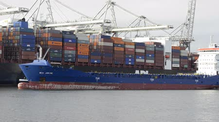 shipping : Container ship in port loaded with shipping containers.