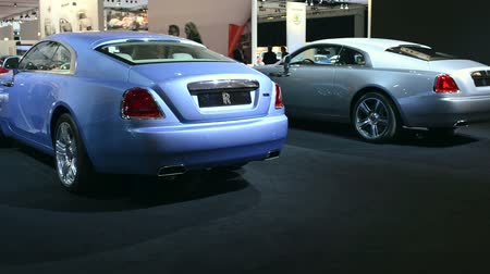 roll : Two Rolls Royce Wraith luxury coupe cars on display at the Amsterdam motor show.