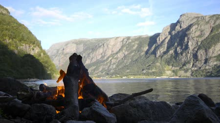 şenlik ateşi : Campfire on the shore of a Fjord in Norway during summer