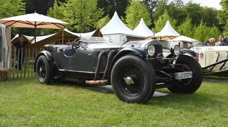 ss : Mercedes-Benz SSK Roadster 1927 classic convertible car on display during 2016 Classic Days at Dyck castle in Germany. Stock Footage