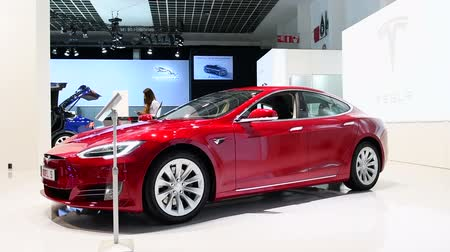 tesla model s : BRUSSELS, BELGIUM - JANUARY 13: Tesla Model S 75D all-electric, luxury, liftback car during the 2017 European Motor Show Brussels.