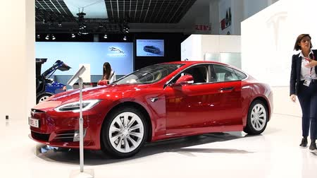 model s : Tesla Model S 75D all electric, luxury, liftback car during the 2017 European Motor Show Brussels. Stock Footage