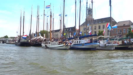 hanseatic : Old sailing ships moored at the quay in the city of Kampen at the river IJssel in The Netherlands
