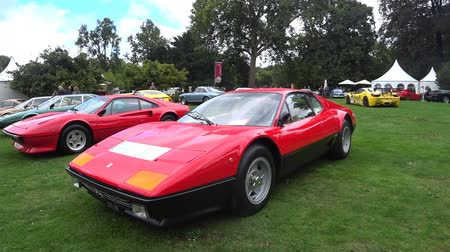 berlinetta : Ferrari 512 BB or Berlinetta Boxer Italian 1970s sports car on display during the 2017 Classic Days event at Schloss Dyck. Stock Footage
