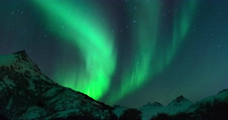 Tijd lapse clip van Polar Light of Northern Light (Aurora Borealis) in de nachtelijke hemel over de Lofoten eilanden in Noord-Noorwegen in de winter. Stockvideo