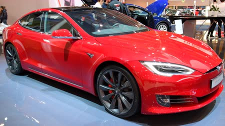 tesla model s : Tesla Model S P100D all-electric, luxury, liftback car during the 2018 European Motor Show Brussels.