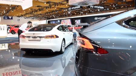 tesla model s : Tesla Model X crossover SUV and Model S liftback all-electric, luxury, cars during the 2018 European Motor Show Brussels.