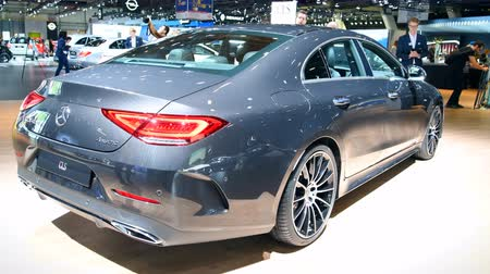 двухместная карета : Mercedes-Benz CLS mid-size luxury 4-door sedan (fastback) C257 limousine luxury saloon on display during the 2018 Brussels Motor Show.