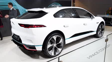 pace : Jaguar I-PACE battery-electric SUV concept car developed by British automotive company Jaguar Land Rover on display at the 2018 European motor show in Brussels. Stock Footage
