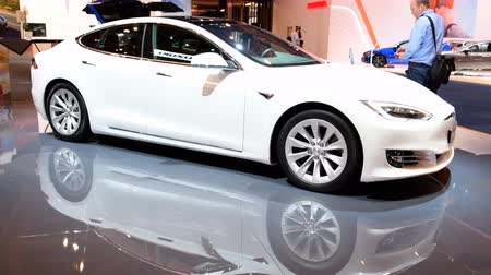 tesla motors : Tesla Model S all-electric, luxury, liftback car during the 2018 European Motor Show Brussels.