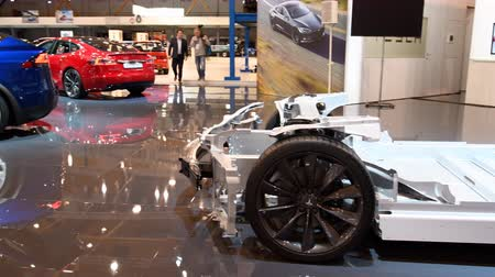 aluminium : Tesla chassis and Tesla Model X crossover SUV and Model S liftback all-electric, luxury, cars during the 2018 European Motor Show Brussels.