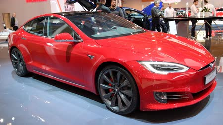 tesla model s : Tesla Model S all-electric, luxury, liftback car during the 2018 European Motor Show Brussels.