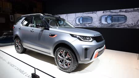 literário : Land Rover Discovery SVX SUV fitted with a supercharged 5.0-liter V-8 that makes 518 horsepower on display at the 2018 European Motor Show Brussels.