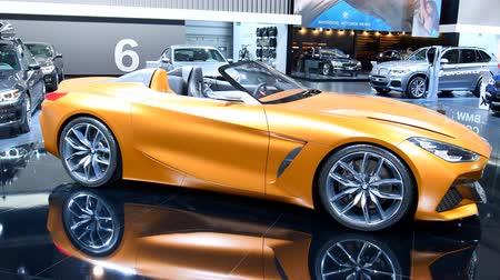 série : BMW Concept Z4 Roadster car concept during the 2018 European Motor Show Brussels. The BMW Concept Z4 is painted in a BMW Frozen (matte) color, Energetic Orange