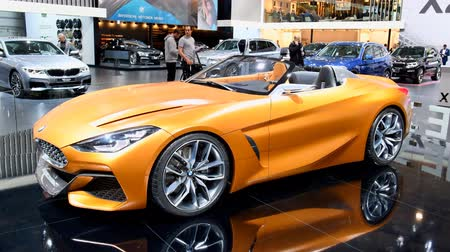 roadster : BMW Concept Z4 Roadster car concept during the 2018 European Motor Show Brussels. The BMW Concept Z4 is painted in a BMW Frozen (matte) color, Energetic Orange