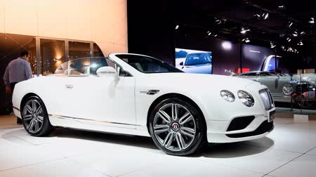 gt : Bentley GT V8 Convertible luxury cabriolet car on display at the 2018 European motor show in Brussels.
