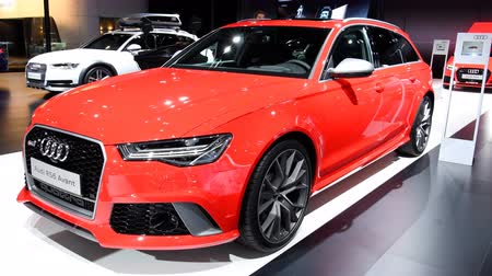 bruxelas : Audi RS6 Avant Quattro high performance stationwagon executive luxury car on display at the 2018 European motor show in Brussels.