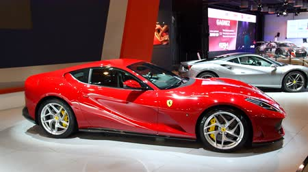 tourer : Ferrari 812 Superfast V12 exclusive Grand Tourer sports car during 2018 European motor show in Brussels.